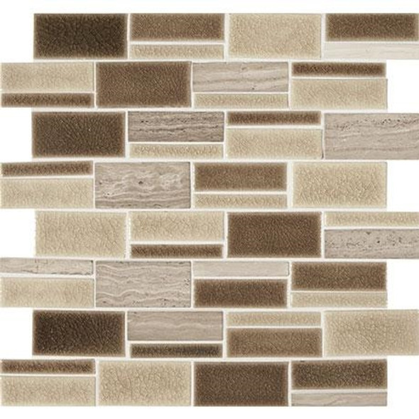 "Marazzi Midpark Mosaics - MP08 Sandbox - 3"" X Random Rectangle Interlocking Glazed Porcelain & Stone Mosaic Tile - Sample"