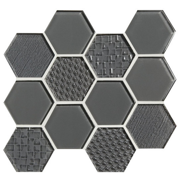 American Olean Color Appeal Entourage Felicity Hexagon Glass - C121 Charcoal Gray - Glass Tile Mosaic - Sample