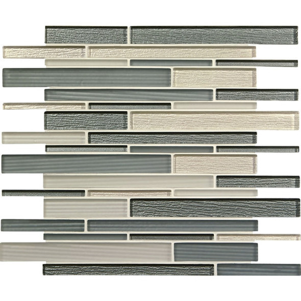 American Olean Entourage Strategies - ST76 Silver Intention - Structured Railroad Interlocking Glass Tile Mosaic - Glossy