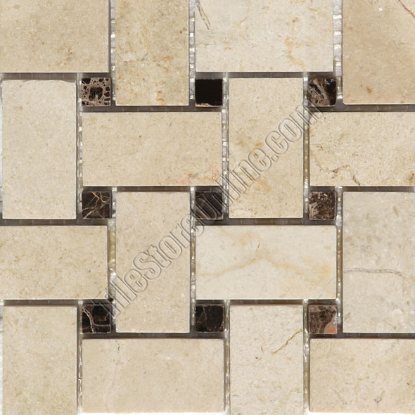 Type: Stone Mosaic, Series: Polished Basketweave Marble Mosaic, Color: Crema Marfil Emperador Dark, Category: Natural Stone Mosaics, Size: Basket Weave