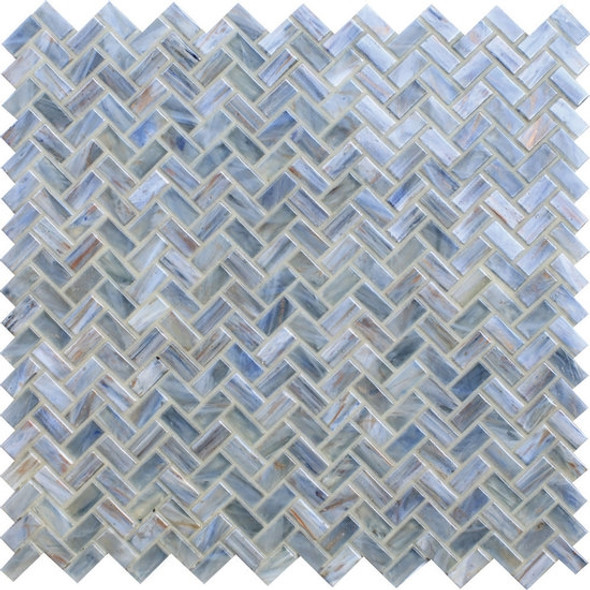 American Olean Entourage Novelty Glass - NV95 Lapis - Herringbone Glass Tile Mosaic - $12.99