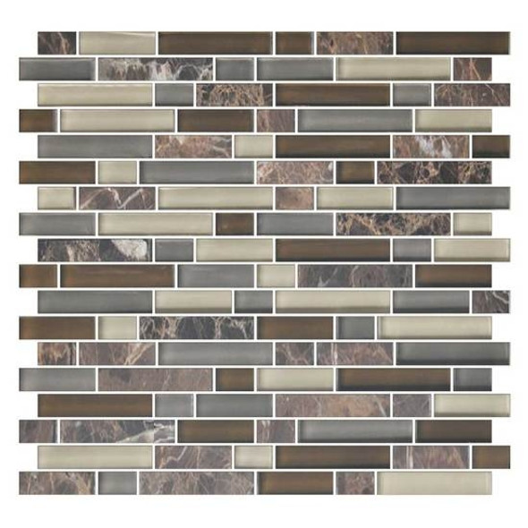 American Olean Color Appeal Blends - C139 Tortoise Shell Blend - 5/8 X Random Linear Interlocking Glass & Stone Mosaic Tile - Glossy - Sample