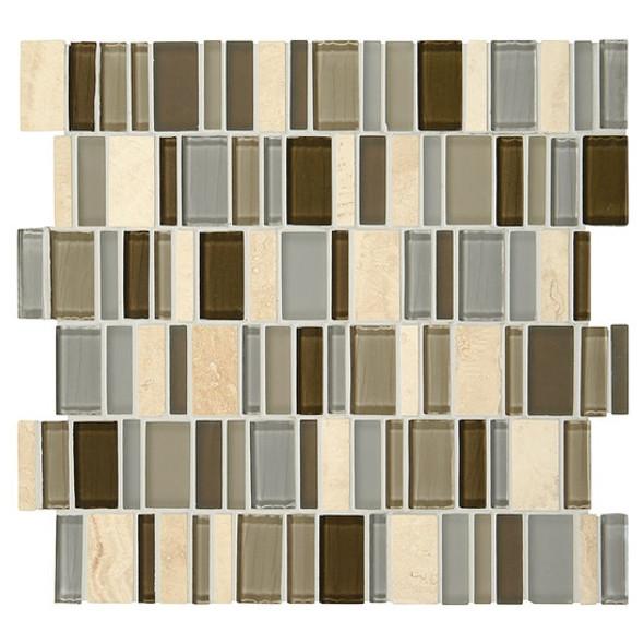 "American Olean Entourage Jubiliance - JB01 Bliss Blend - 2"" X Random Interlocking Glass & Stone Mosaic Tile - Sample"