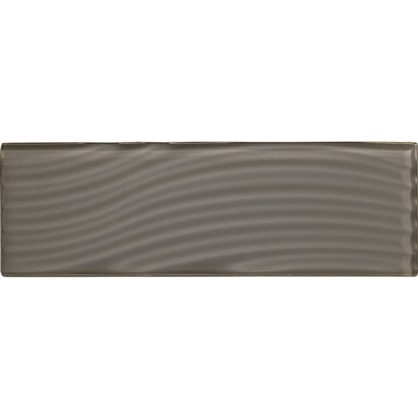 American Olean Color Appeal Entourage Abstracts Glass - C121 Charcoal Gray - 4X12 Wavy Subway Glass Tile Plank - Glossy - Sample