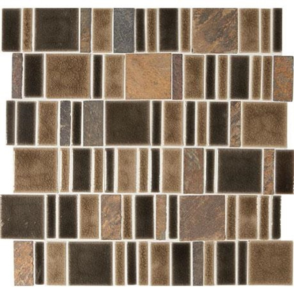 "Marazzi Midpark Mosaics - MP09 Bark - 2"" X Random Square Interlocking Crackle Glazed Porcelain & Stone Mosaic Tile - Sample"