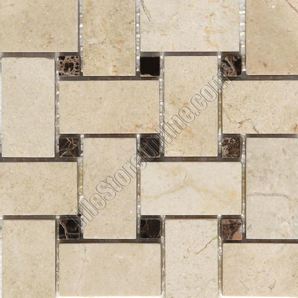 Basketweave Marble Mosaic Tile - Crema Marfil Basket Weave with Emperador Dark Marble Dot Mosaic - Polished * SAMPLE *