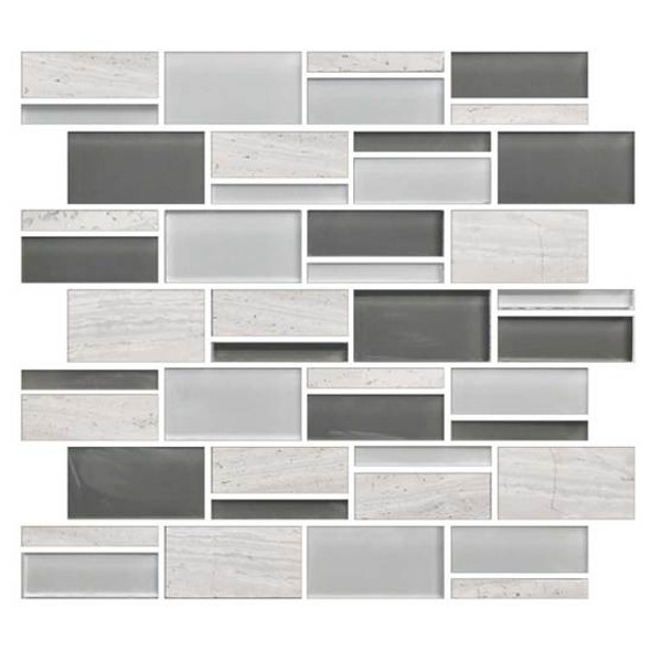 "American Olean Color Appeal Blends - C140 Mountain Morning Blend - 3"" X Random Interlocking Glass & Stone Mosaic Tile - Sample"