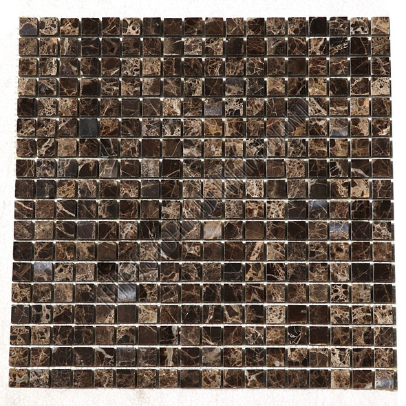 Type: Stone Mosaic, Series: Polished Mini Square Marble Mosaic, Color: Emperador Dark, Category: Natural Stone Mosaics, Size: 5/8 X 5/8