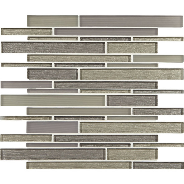 American Olean Entourage Strategies - ST77 Taupe Tactics - Structured Railroad Interlocking Glass Tile Mosaic - Glossy