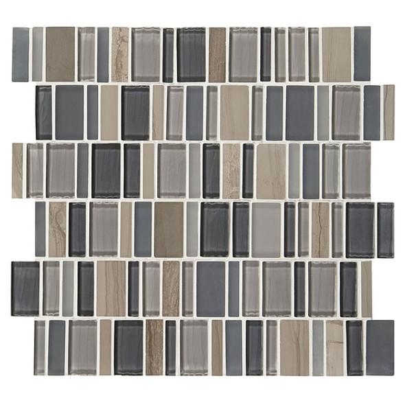 "American Olean Entourage Jubiliance - JB02 Joy Blend - 2"" X Random Interlocking Glass & Stone Mosaic Tile - Sample"