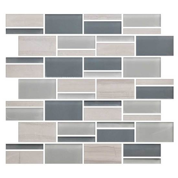 "American Olean Color Appeal Blends - C141 Sea Cliff Blend - 3"" X Random Interlocking Glass & Stone Mosaic Tile - Sample"