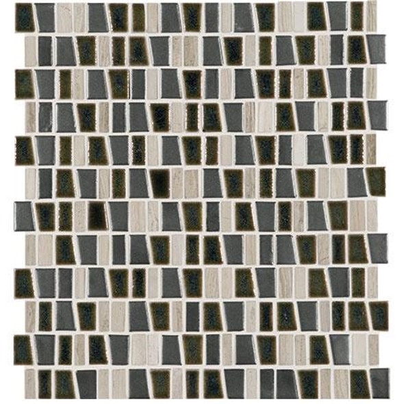 "Marazzi Midpark Mosaics - MP10 Shadow - 1"" X Random Trapezoid Interlocking Glazed Porcelain & Stone Mosaic Tile - Sample"