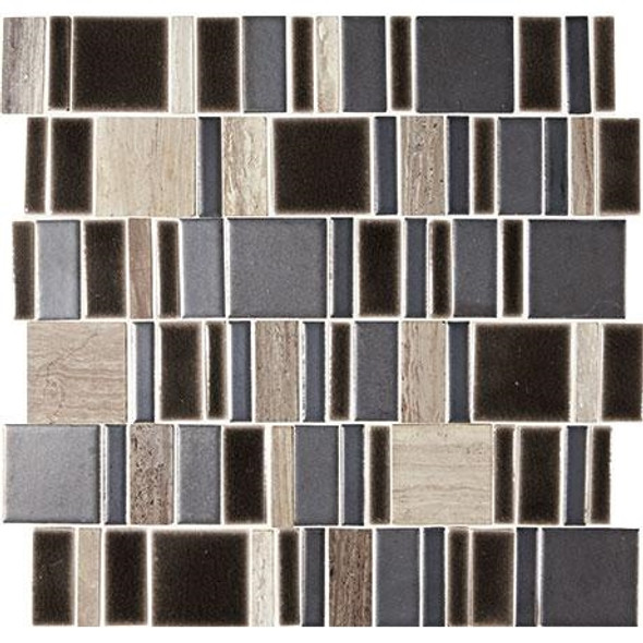 "Marazzi Midpark Mosaics - MP10 Shadow - 2"" X Random Square Interlocking Glazed Porcelain & Stone Mosaic Tile - Sample"
