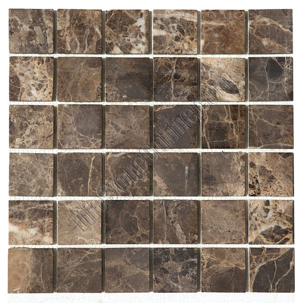 Type: Marble Mosaic, Series: Honed Marble Mosaic, Color: Emperador Dark Brown Marble, Category: Natural Stone Mosaics, Size: 2 X 2