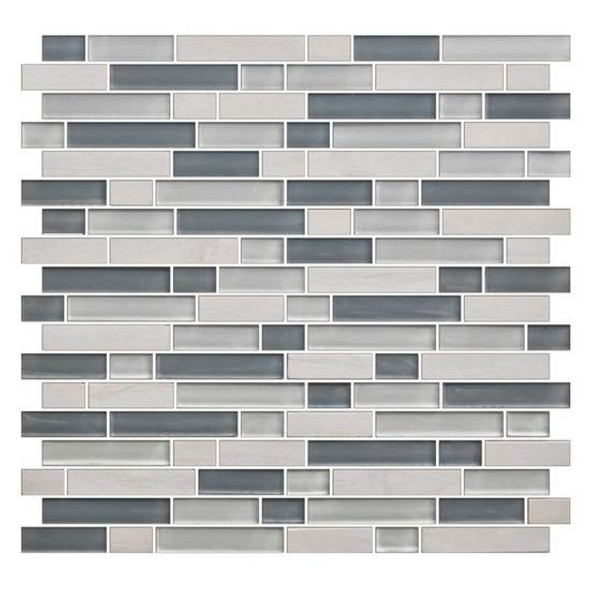 American Olean Color Appeal Blends - C141 Sea Cliff Blend - 5/8 X Random Linear Interlocking Glass & Stone Mosaic Tile - Glossy - Sample