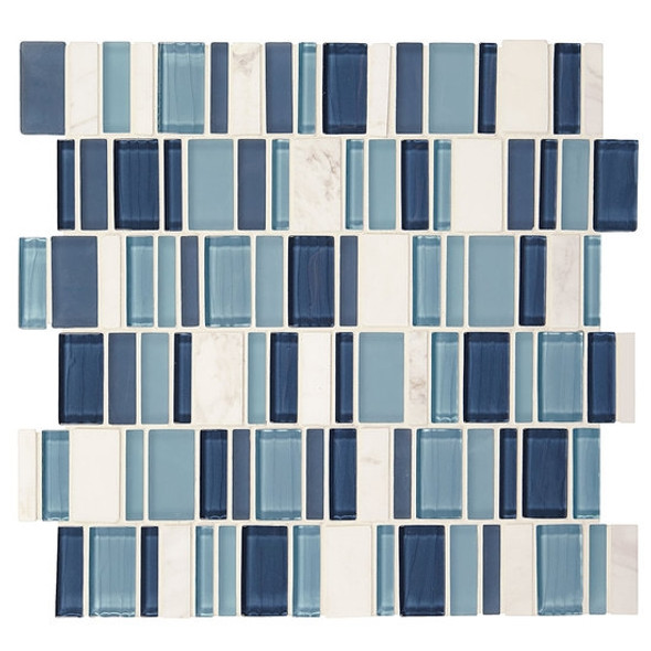 "American Olean Entourage Jubiliance - JB03 Esprit Blend - 2"" X Random Interlocking Glass & Stone Mosaic Tile - Sample"
