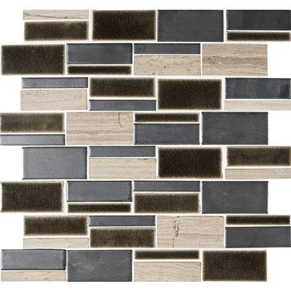 "Marazzi Midpark Mosaics - MP10 Shadow - 3"" X Random Rectangle Interlocking Glazed Porcelain & Stone Mosaic Tile - Sample"