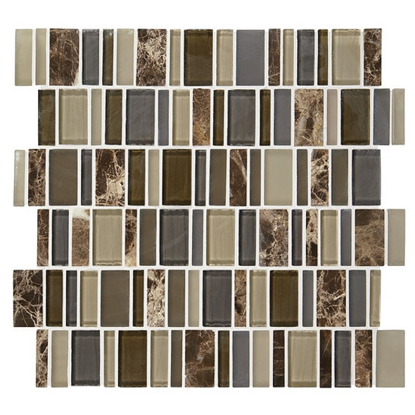 "Supplier: American Olean, Series: Entourage Jubilance, Name: JB04 Glee Blend, Type: Glass & Stone MosaicTile, Size: 2"" X Random"