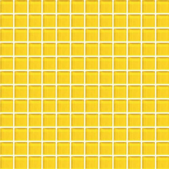 American Olean Color Appeal Vibrant Glass - C123 Vibrant Yellow - 1X1 Glass Tile Mosaic - Glossy - Sample