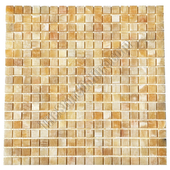 Type: Stone Mosaic, Series: Polished Onyx Mosaic, Color: Honey Onyx, Category: Natural Stone Mosaics, Size: 5/8 X 5/8