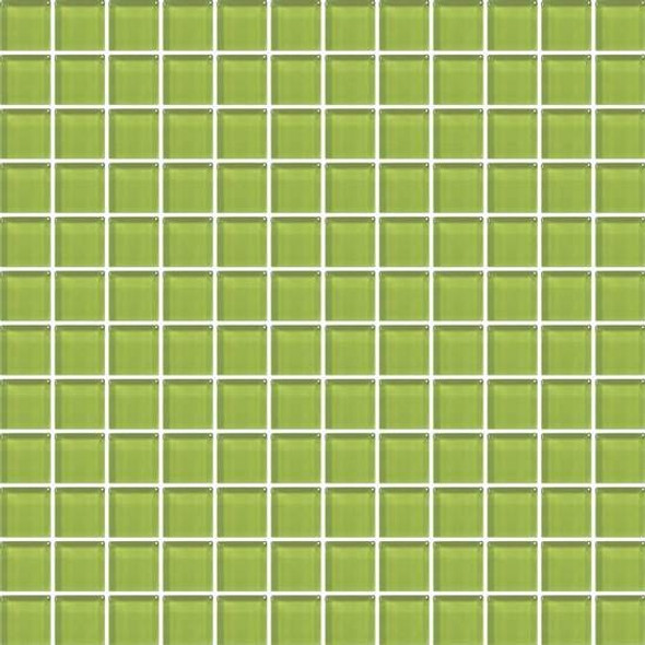 American Olean Color Appeal Vibrant Glass - C124 Lime Green - 1X1 Glass Tile Mosaic - Glossy - Sample