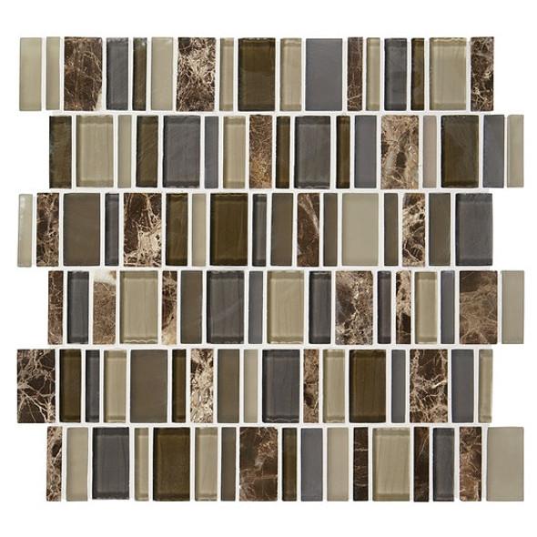 "American Olean Entourage Jubiliance - JB04 Glee Blend - 2"" X Random Interlocking Glass & Stone Mosaic Tile - Sample"
