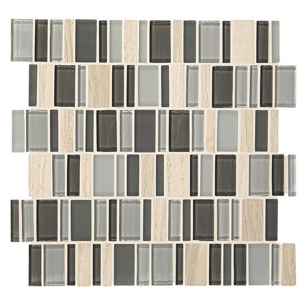 "American Olean Entourage Jubiliance - JB05 Elation Blend - 2"" X Random Interlocking Glass & Stone Mosaic Tile - Sample"
