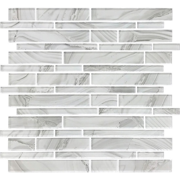 American Olean Entourage Refluence - RE08 White Cap - Random Linear Interlocking Glass Tile Mosaic - Glossy