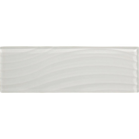 American Olean Color Appeal Entourage Abstracts Glass - C101 Pearl - 4X12 Wavy Subway Glass Tile Plank - Glossy - Sample