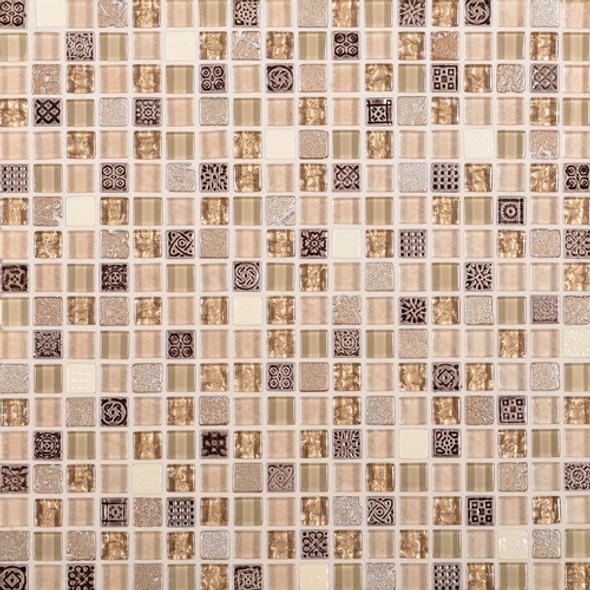 Daltile Marvel Mosaic - MV29 Gemstone - 5/8 X 5/8 Glass Tile, Stone, and Metal Deco Tile Mosaic* SAMPLE *
