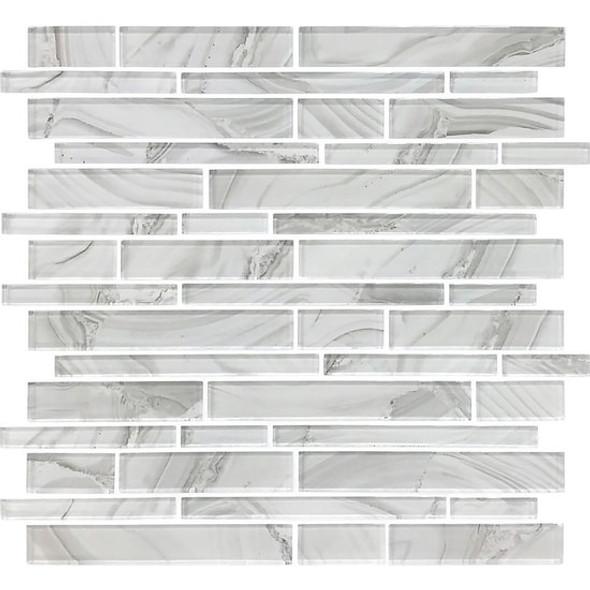 American Olean Entourage Refluence - RE08 White Cap - Random Linear Interlocking Glass Tile Mosaic - Glossy - Sample