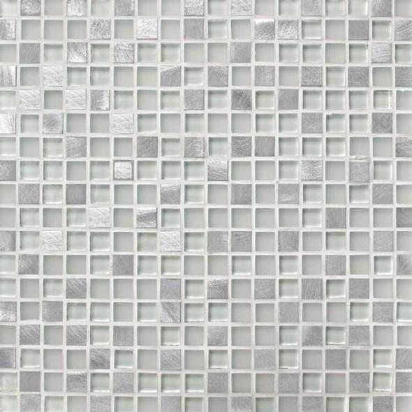 American Olean Morello - MM01 Quartz - 5/8 X 5/8 Square Glass and Aluminum Metal Tile Mosaic * SAMPLE *
