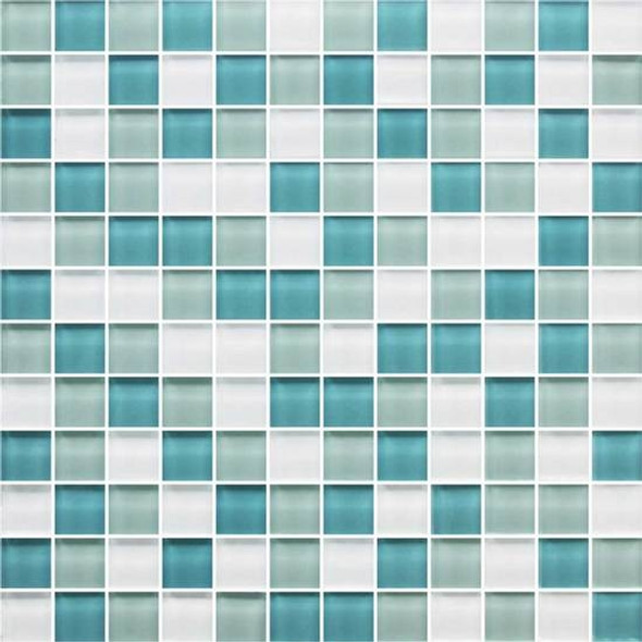 American Olean Color Appeal Glass Blends - C128 Sea Pearl Blend - 1X1 Glass Tile Mosaic - Glossy - Sample
