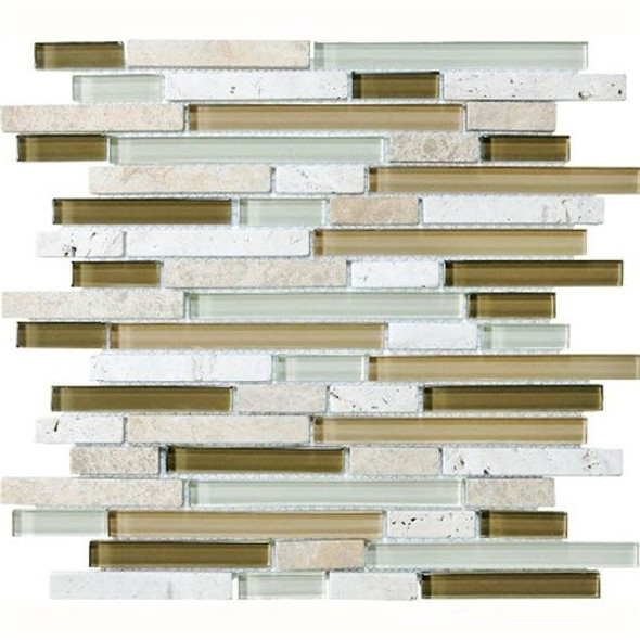Eclipse Allure Linear Glass and Stone Mosaic Tile - Strip Sticks of Emperador Light Marble, Travertine, and Glossy Glass Tile * SAMPLE *