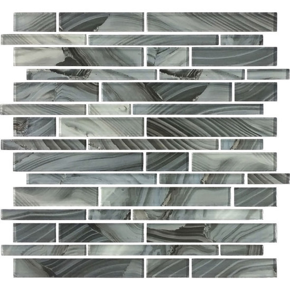 American Olean Entourage Refluence - RE09 Waterfall - Random Linear Interlocking Glass Tile Mosaic - Glossy