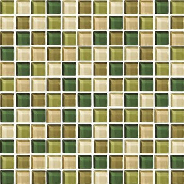 Daltile Color Wave Glass - CW25 Rain Forest Blend - 1 X 1 Dal Tile Glass Tile - Glossy - Sample