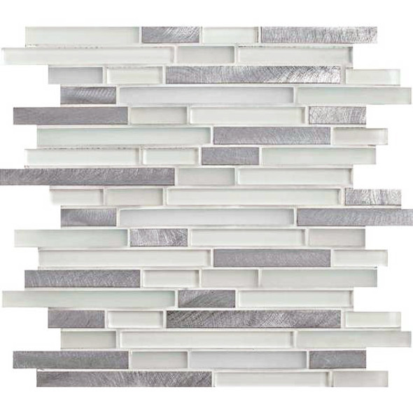 American Olean Morello - MM01 Quartz - 5/8 X Linear Glass and Aluminum Metal Tile Strip Stick Mosaic * SAMPLE *