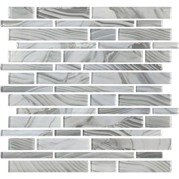 American Olean Entourage Refluence - RE10 Stream - Random Linear Interlocking Glass Tile Mosaic - Glossy