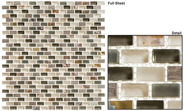 Americana - AMER-392 Route 66 - 3/4 X 3/8 Mini Brick Subway Glass & Stone Mosaic Tile - Sample