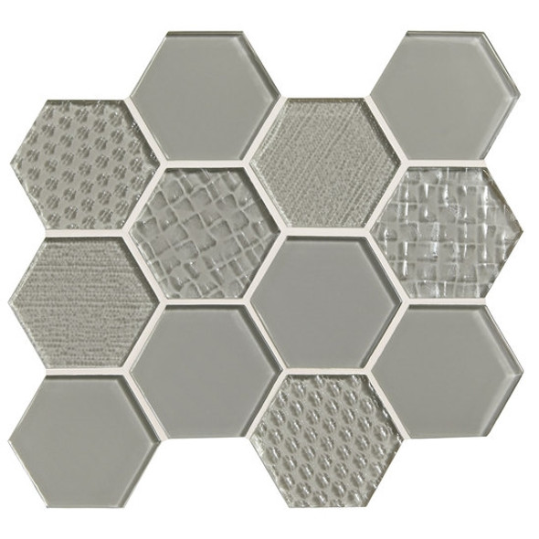 American Olean Color Appeal Entourage Felicity Hexagon Glass - C102 Silver Cloud - Glass Tile Mosaic - Sample