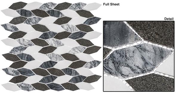 "Colonial - CLNL-280 Presidential Gray - 2"" Long Hexagon Leaf Shape Marble Stone Mosaic - Sample"