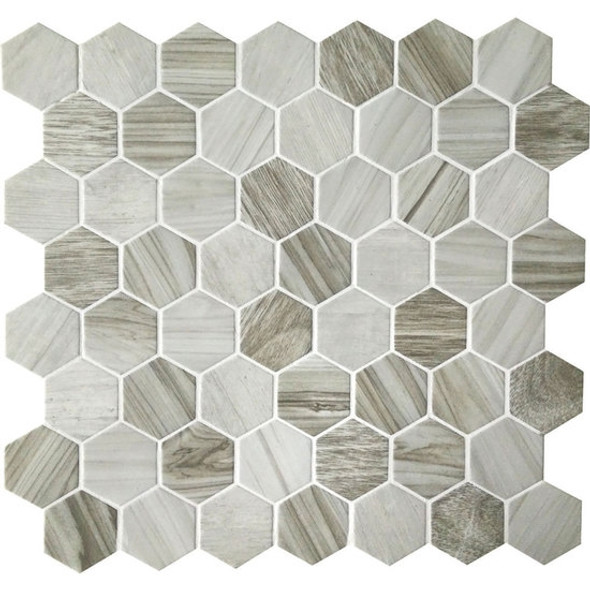 American Olean Entourage Crosswood Hexagon Glass - CR95 Seagull - Wood Look Glass Tile Mosaic - Sample