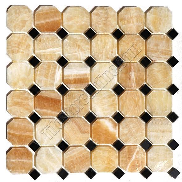 Onyx Mosaic Tile - Honey Onyx Octagon with Black Marble Dot Mosaic - Polished * SAMPLE *
