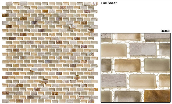 Americana - AMER-393 Drive In - 3/4 X 3/8 Mini Brick Subway Glass & Stone Mosaic Tile