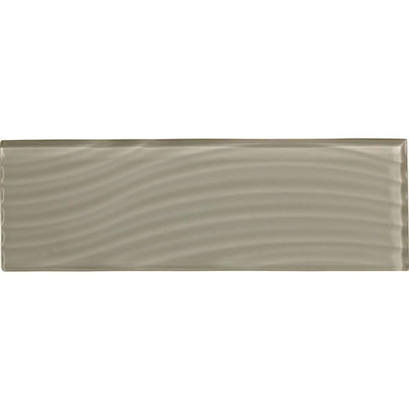 American Olean Color Appeal Entourage Abstracts Glass - C102 Silver Cloud - 4X12 Wavy Subway Glass Tile Plank - Glossy - Sample