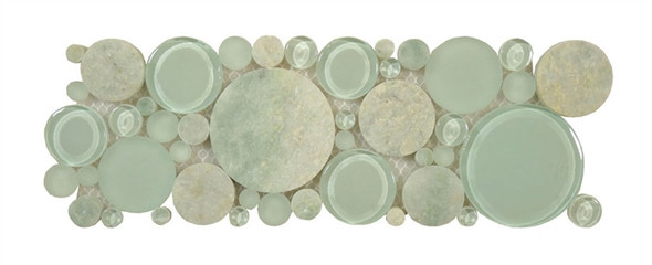 Supplier: Tile Store Online, Name: B400, Color: Moonstone,Type: Round Glass & Stone Mosaic Listello Border, Size: 4X12