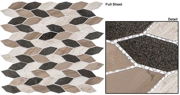 "Colonial - CLNL-282 New Chesapeake - 2"" Long Hexagon Leaf Shape Marble Stone Mosaic - Sample"