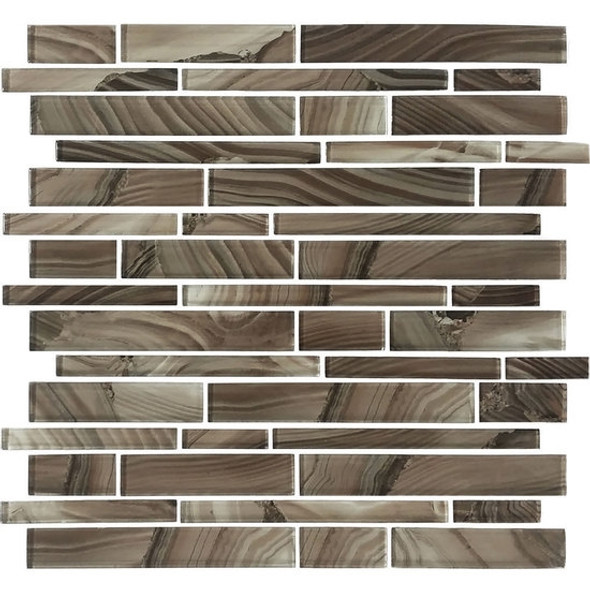 American Olean Entourage Refluence - RE11 Cavern - Random Linear Interlocking Glass Tile Mosaic - Glossy