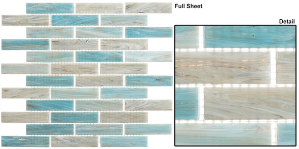 Oyster Cove - OTC-1203 Mellow Waters - Linear Subway Brick Strip Glass Mosaic Tile - Sample