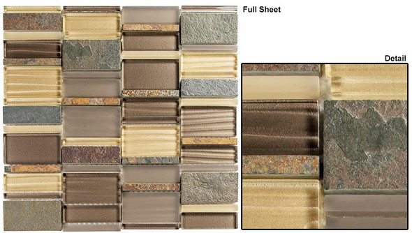 Corrugated Scape - CSS-125 Urban Pollen - Multi Size Offset Glass, Natural Stone, & Metal Mosaic Tile - Sample